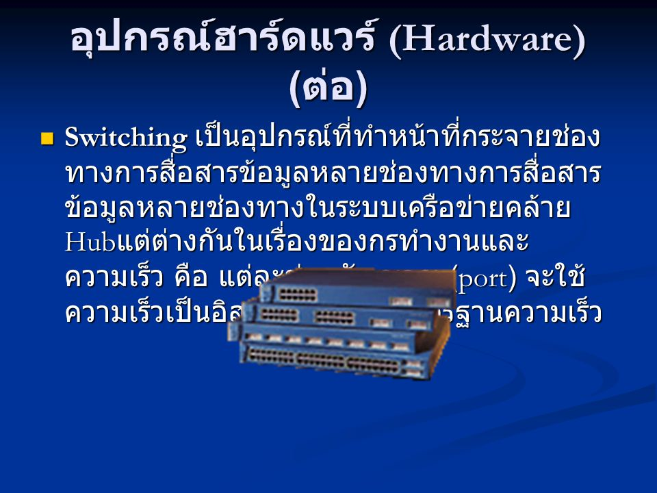 อุปกรณ์ฮาร์ดแวร์ (Hardware) (ต่อ)