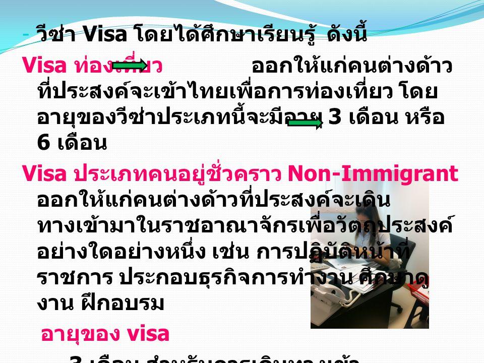 วีซ่า Visa โดยได้ศึกษาเรียนรู้ ดังนี้