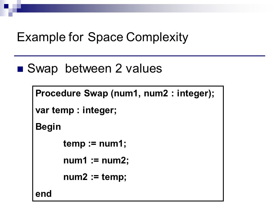 Example for Space Complexity