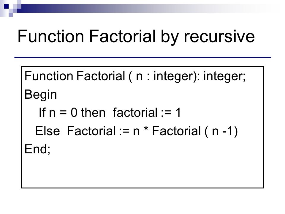 Function Factorial by recursive