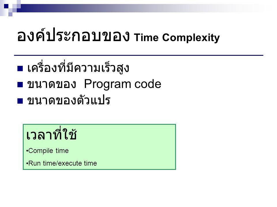 องค์ประกอบของ Time Complexity
