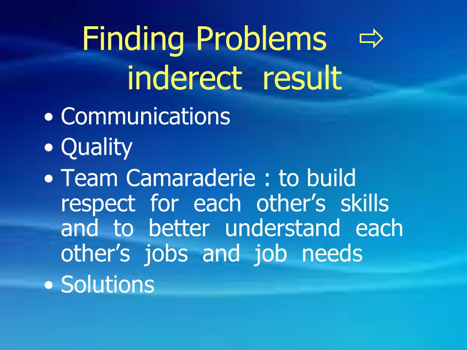 Finding Problems  inderect result