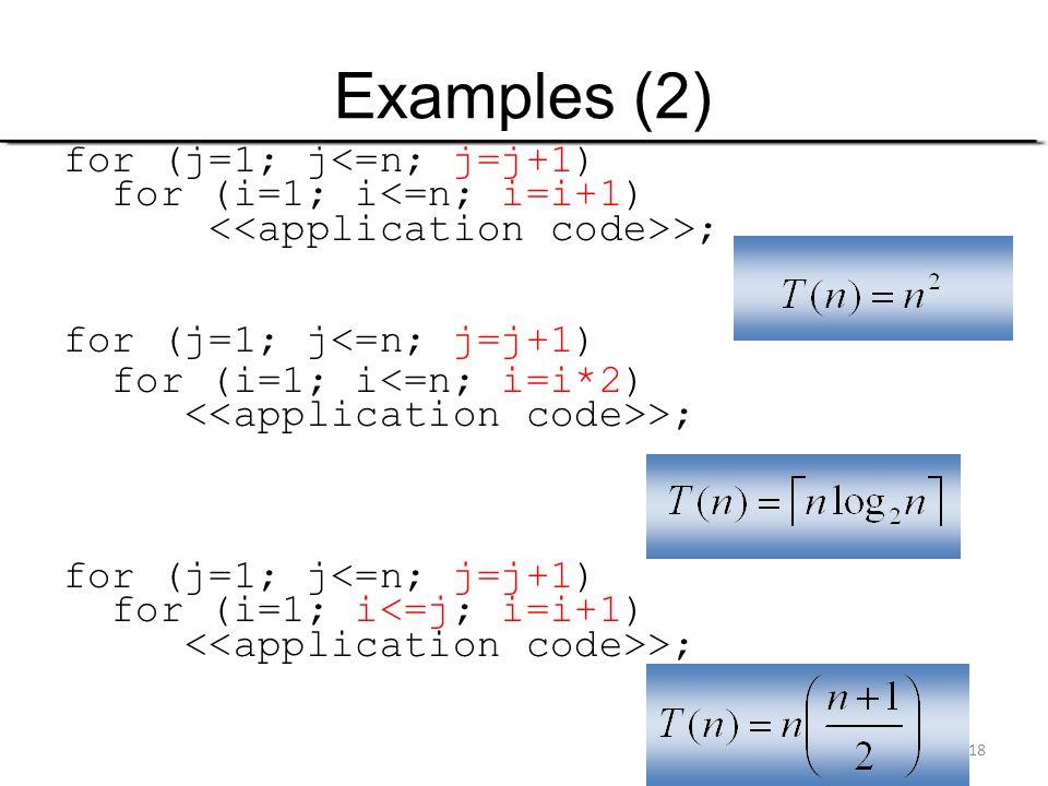 Examples (2) for (j=1; j<=n; j=j+1) for (i=1; i<=n; i=i+1)