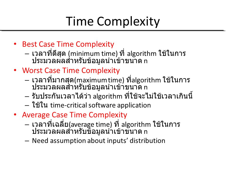 Time Complexity Best Case Time Complexity Worst Case Time Complexity