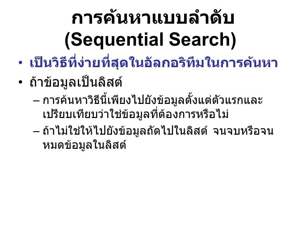 การค้นหาแบบลำดับ (Sequential Search)