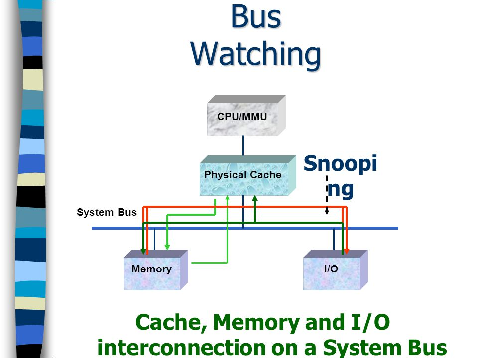 Cache, Memory and I/O interconnection on a System Bus