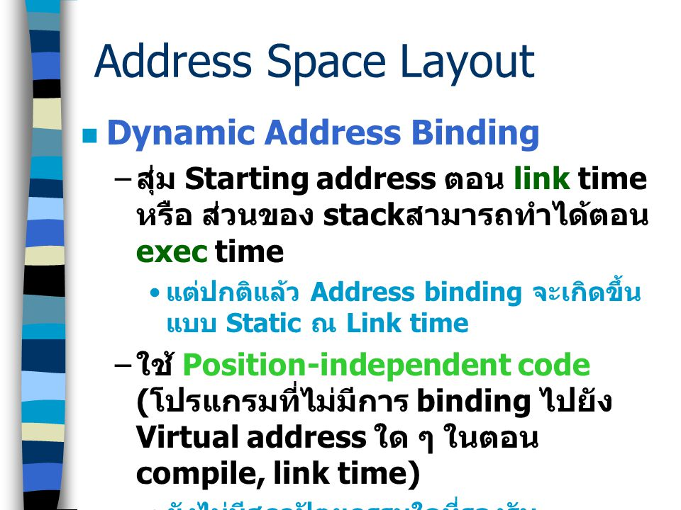 Address Space Layout Dynamic Address Binding