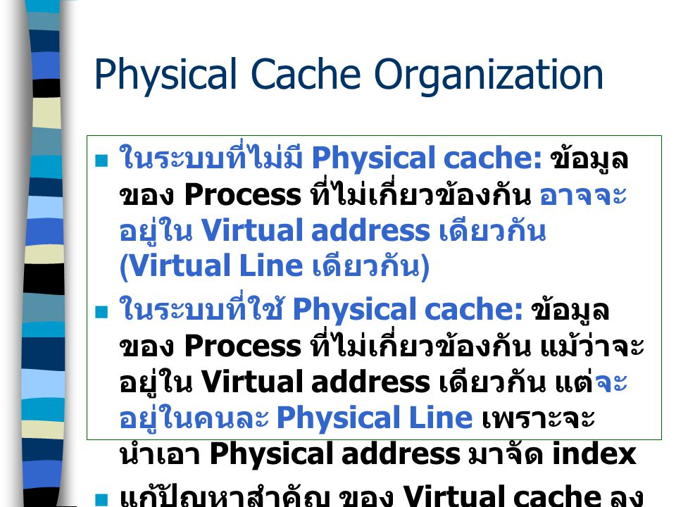 Physical Cache Organization