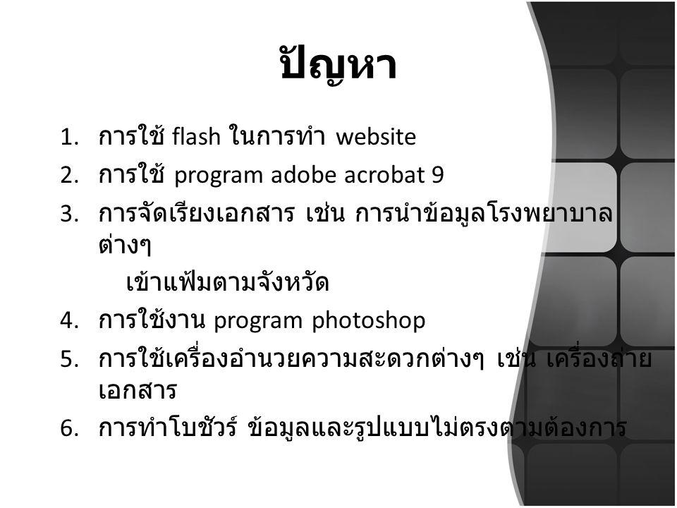 ปัญหา การใช้ flash ในการทำ website การใช้ program adobe acrobat 9