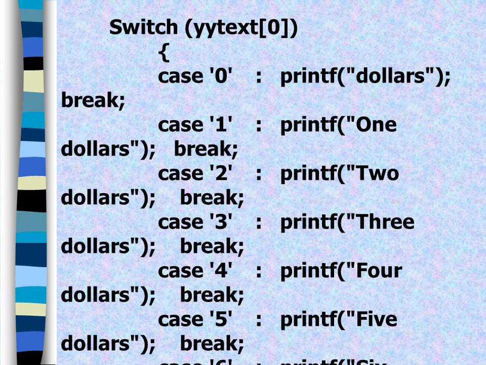 case 0 : printf( dollars ); break;