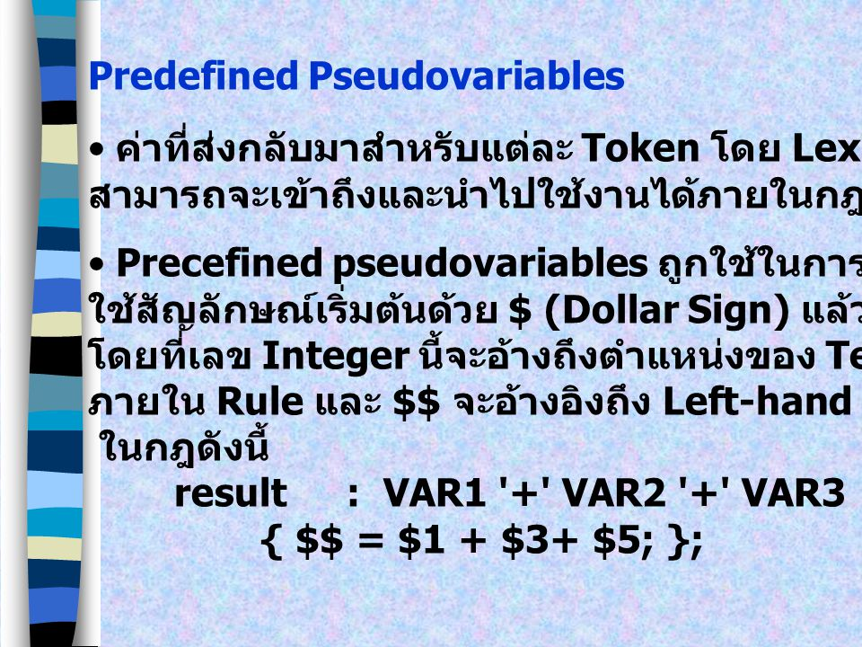 Predefined Pseudovariables