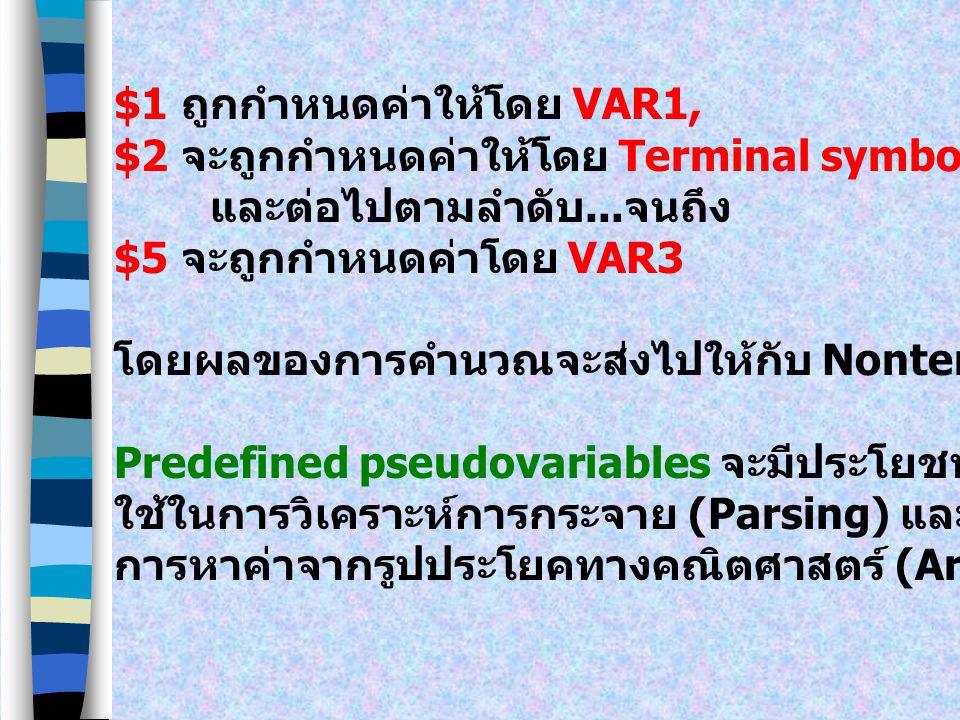 $1 ถูกกำหนดค่าให้โดย VAR1,