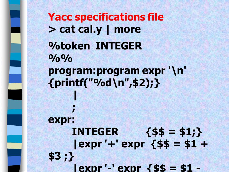 Yacc specifications file