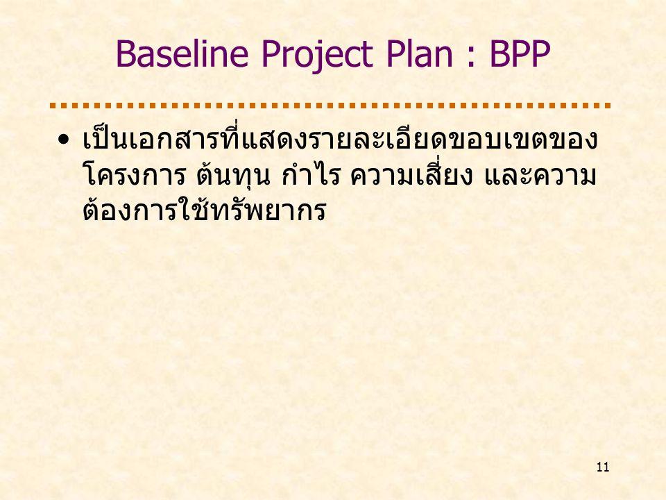 Baseline Project Plan : BPP