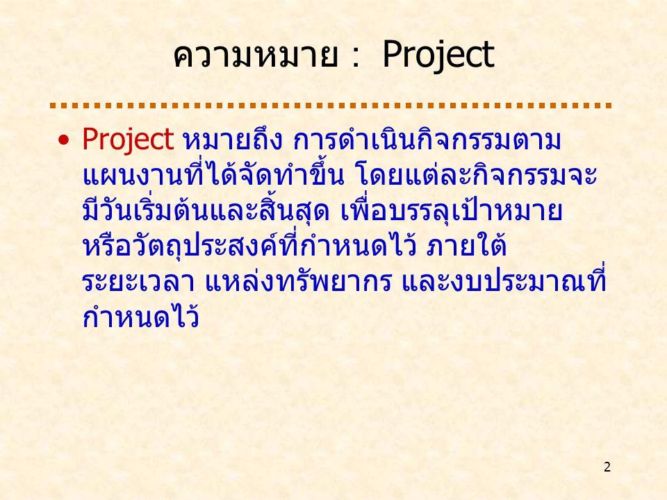 ความหมาย : Project