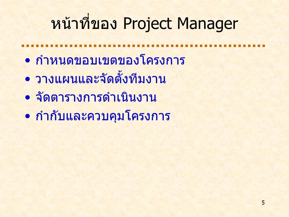 หน้าที่ของ Project Manager