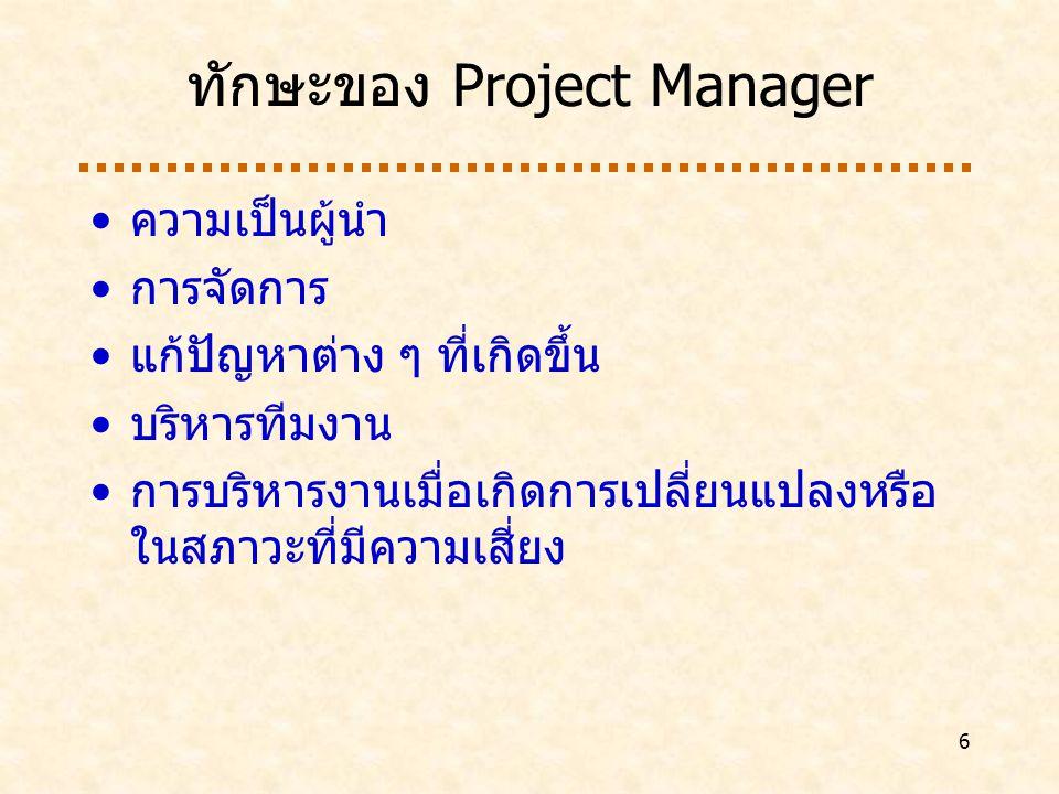 ทักษะของ Project Manager