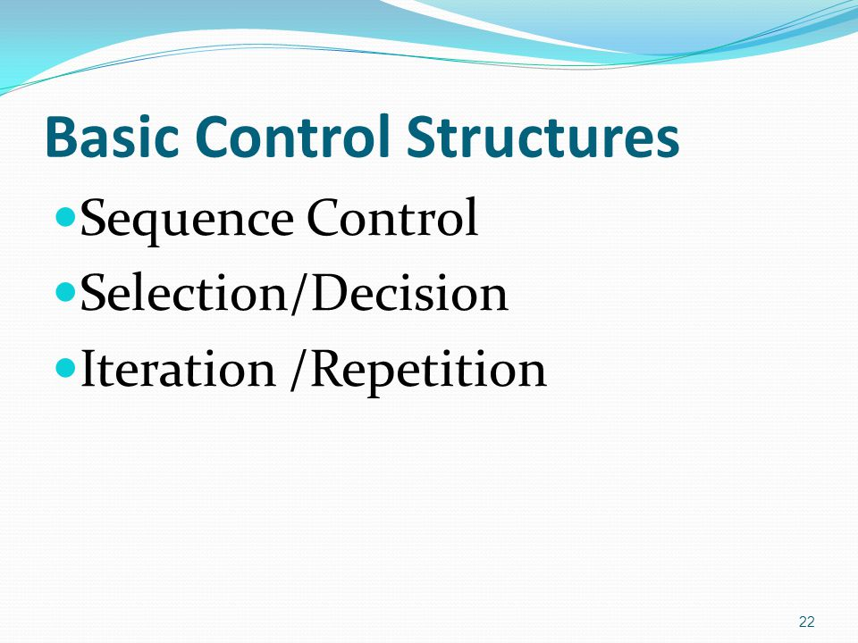 Basic Control Structures