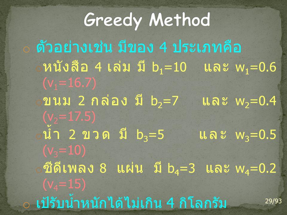 Greedy Method ตัวอย่างเช่น มีของ 4 ประเภทคือ