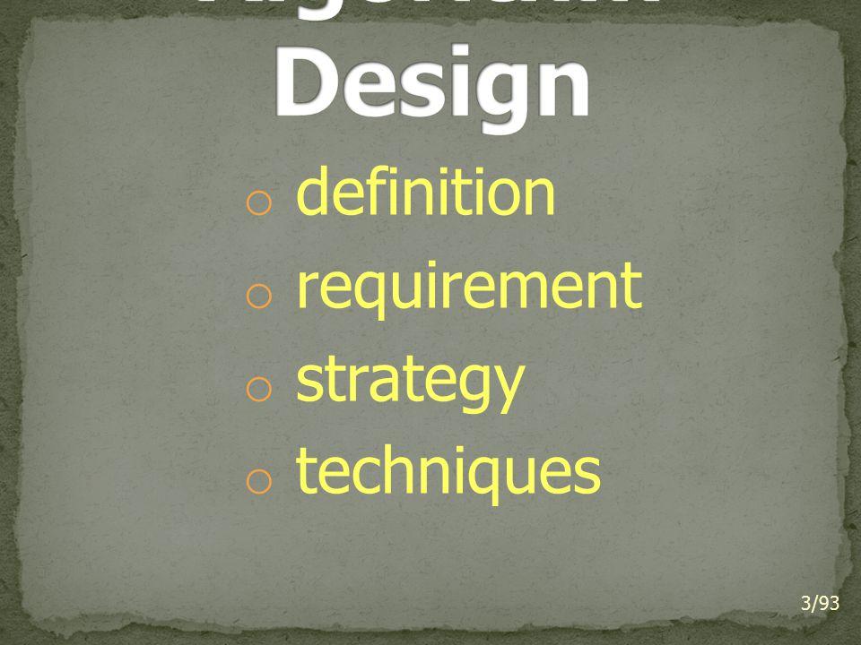 Algorithm Design definition requirement strategy techniques