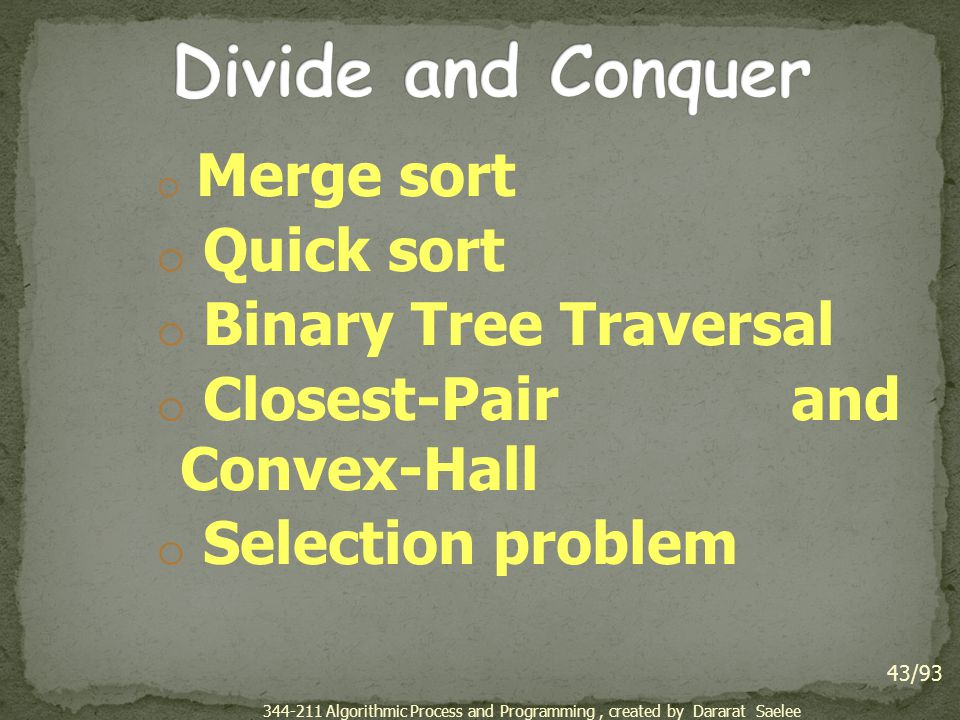Divide and Conquer Quick sort Binary Tree Traversal