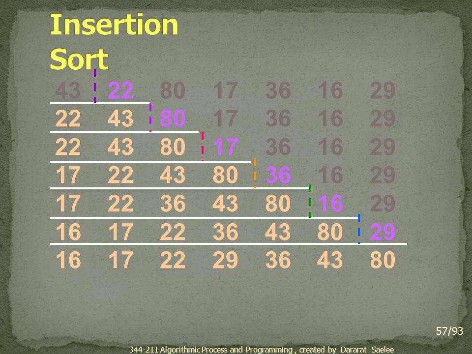 Insertion Sort 43 22 80 17 36 16 29. 22 43 80 17 36 16 29. 17 22 43 80 36 16 29.
