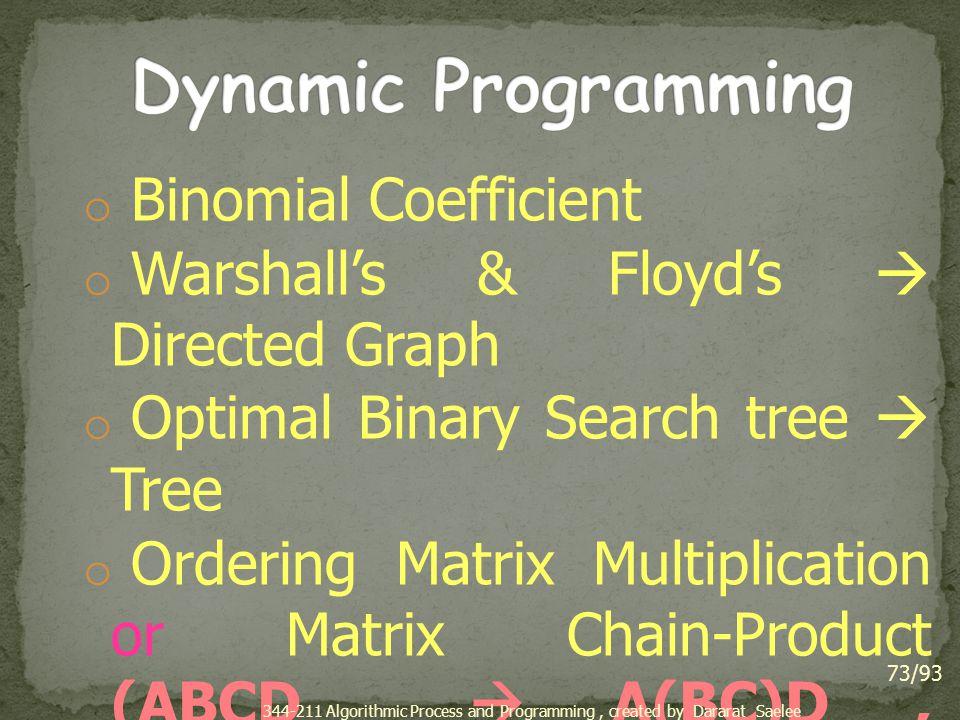 Dynamic Programming Binomial Coefficient