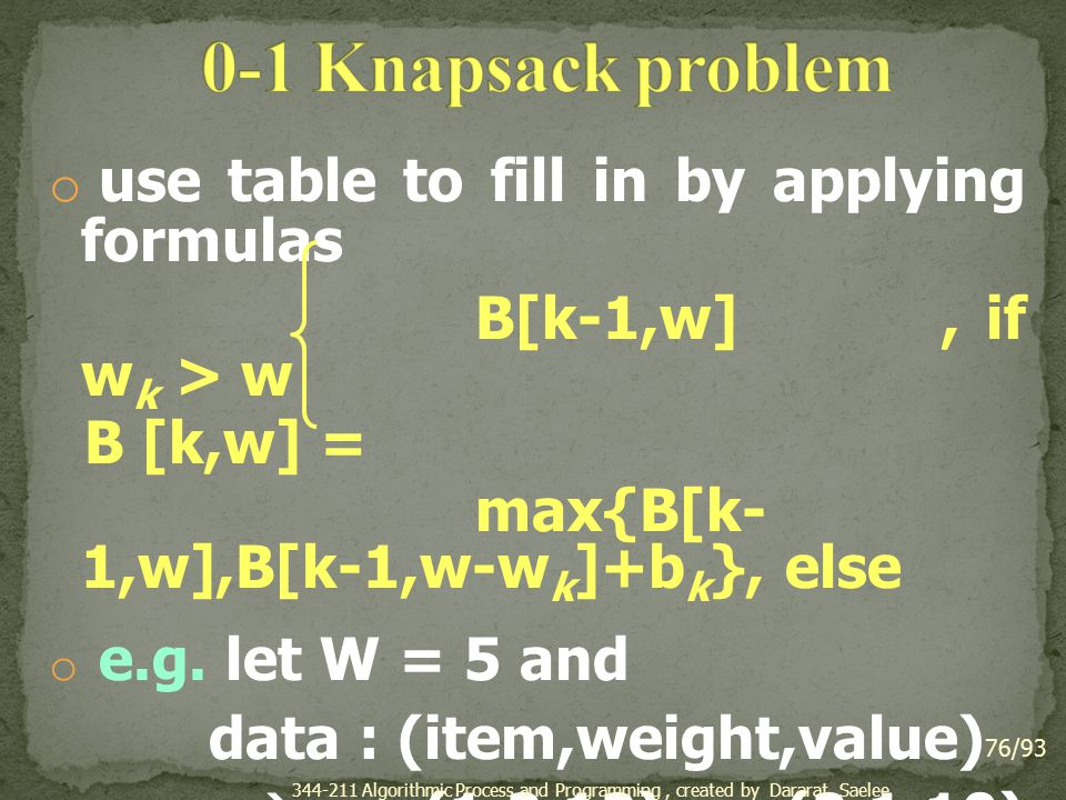 0-1 Knapsack problem use table to fill in by applying formulas