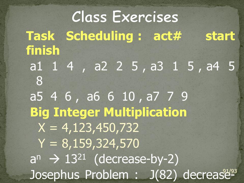 Class Exercises