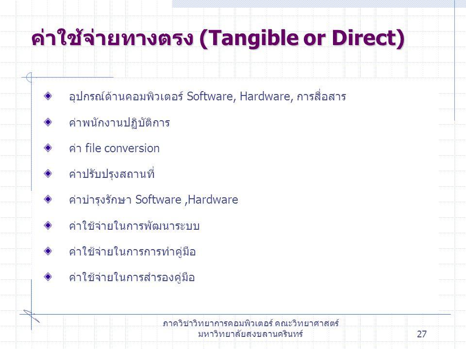 ค่าใช้จ่ายทางตรง (Tangible or Direct)