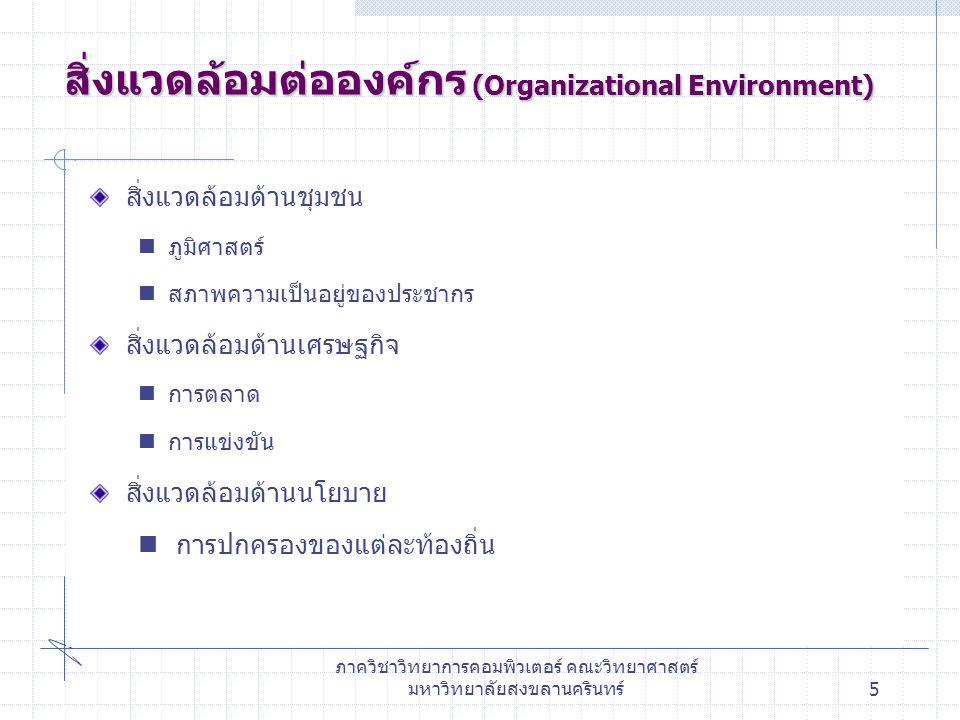 สิ่งแวดล้อมต่อองค์กร (Organizational Environment)