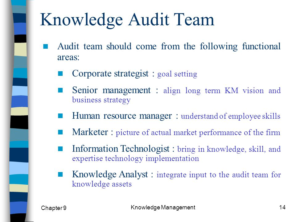 knowledge audit Kaf consists of a process and some templates to guide the planning and execution of audits of knowledge resources, with emphasis on sharing kaf is based on methodological blueprint provided by the data audit framework (daf) conceived by the.