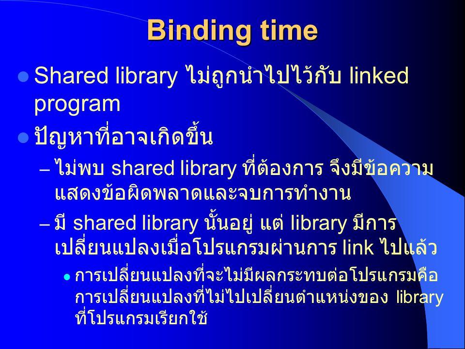 Binding time Shared library ไม่ถูกนำไปไว้กับ linked program