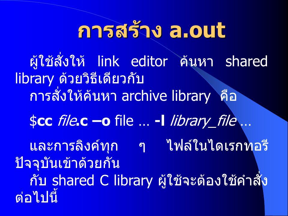 การสร้าง a.out ผู้ใช้สั่งให้ link editor ค้นหา shared library ด้วยวิธีเดียวกับ. การสั่งให้ค้นหา archive library คือ.