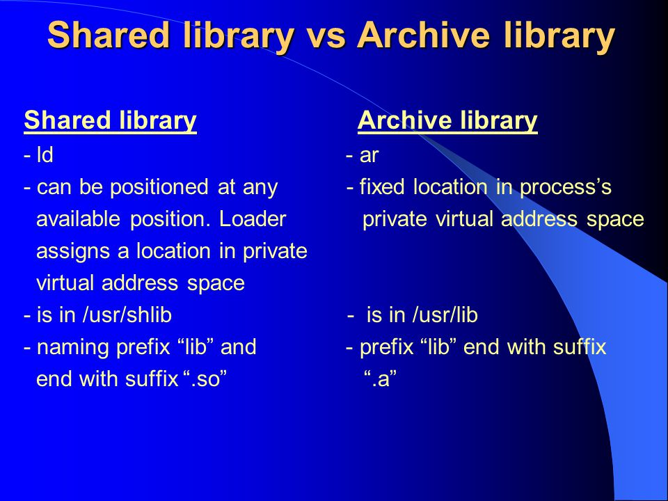 Shared library vs Archive library
