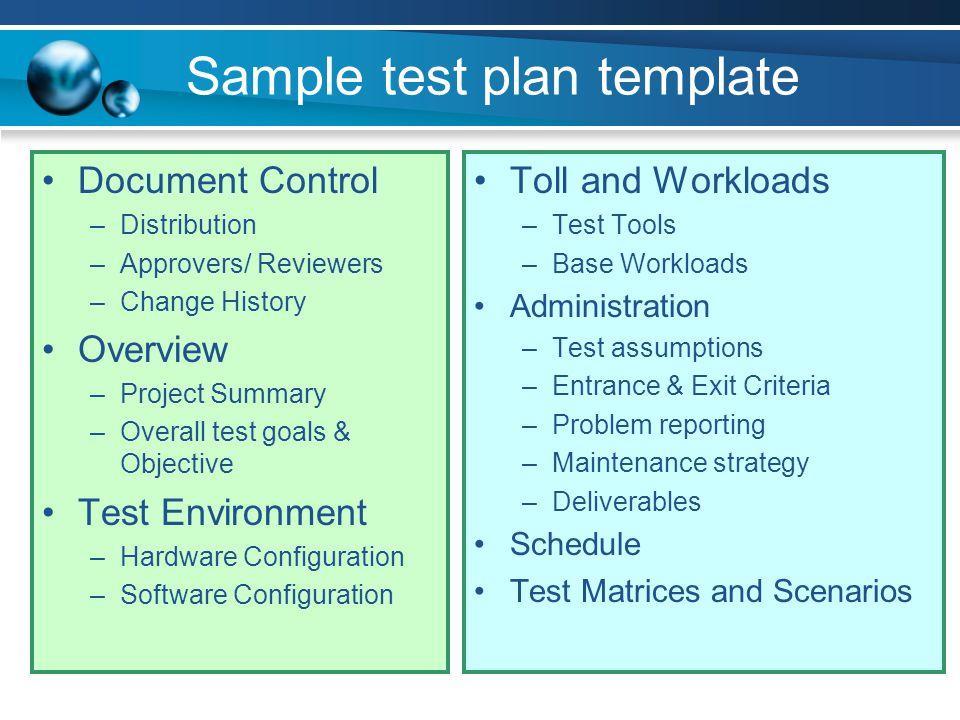 Sample test plan template