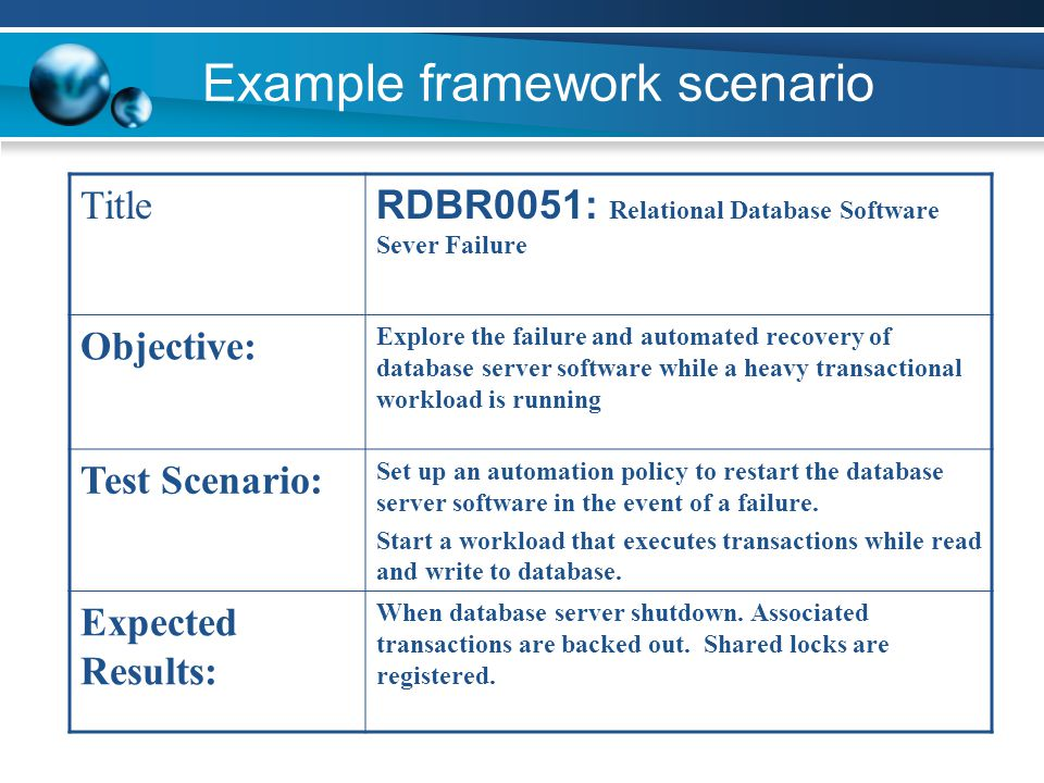 Example framework scenario