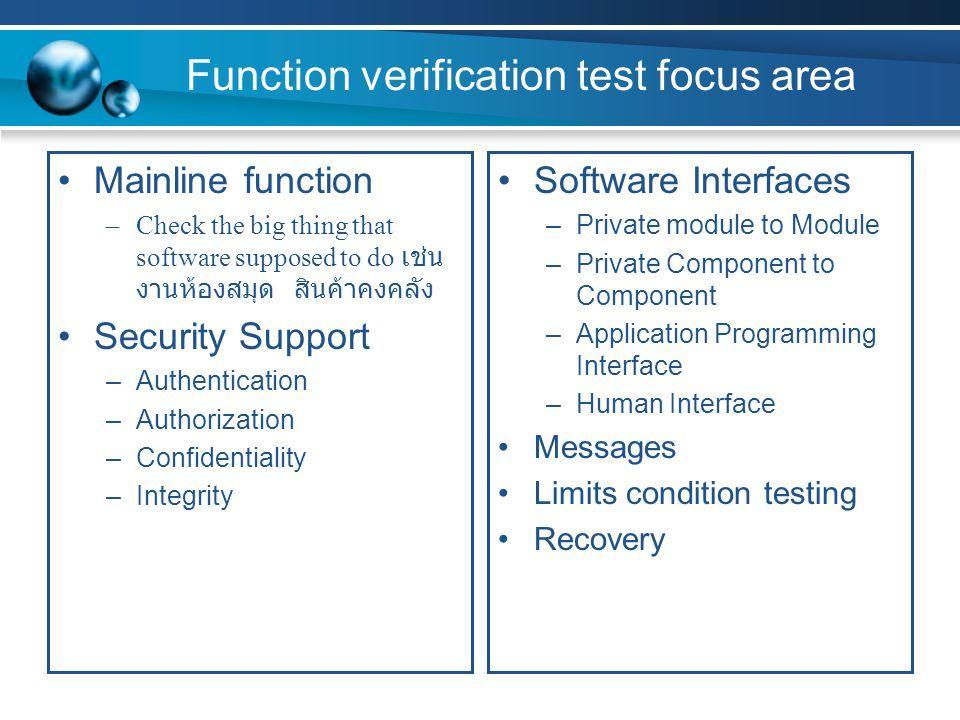 Function verification test focus area
