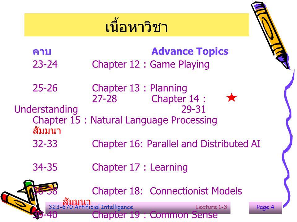 เนื้อหาวิชา คาบ Advance Topics 23-24 Chapter 12 : Game Playing