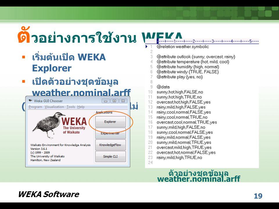 ตัวอย่างการใช้งาน WEKA