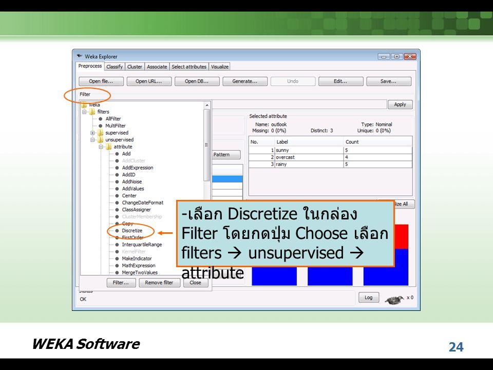 เลือก Discretize ในกล่อง Filter โดยกดปุ่ม Choose เลือก filters  unsupervised  attribute