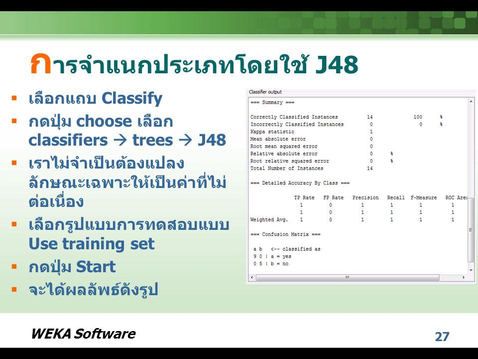 การจำแนกประเภทโดยใช้ J48