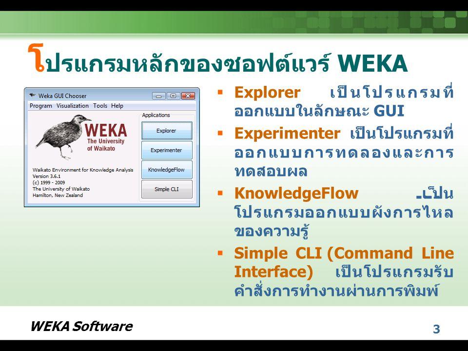 โปรแกรมหลักของซอฟต์แวร์ WEKA