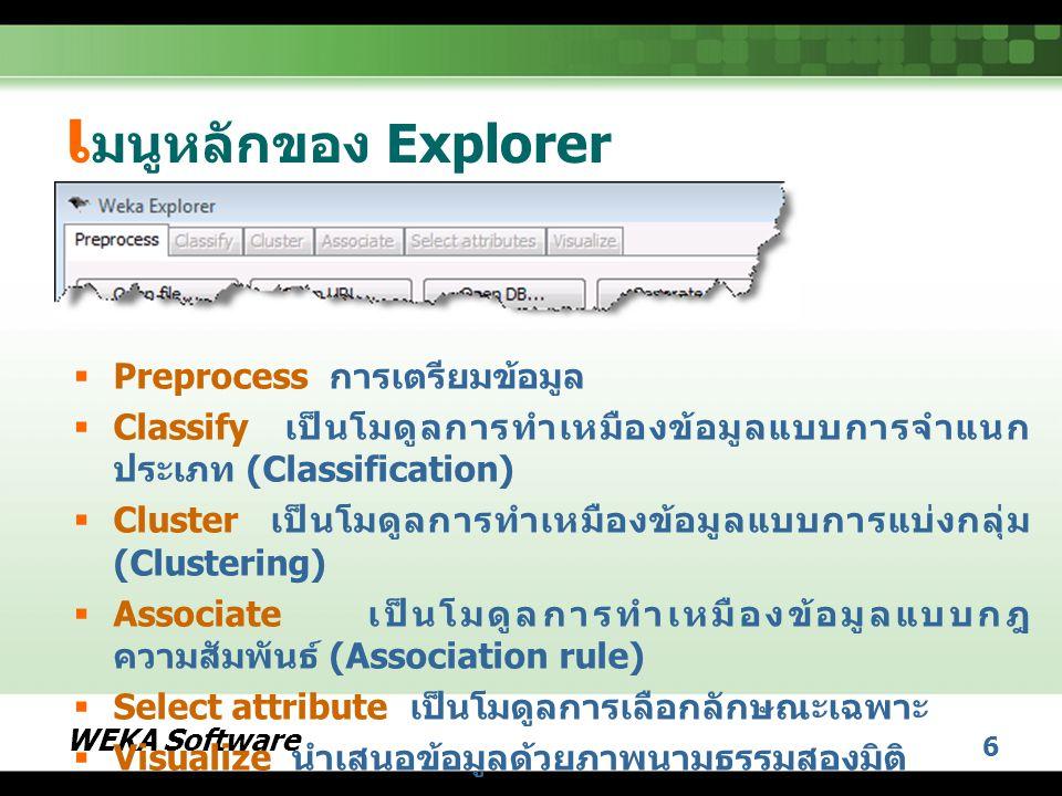 เมนูหลักของ Explorer Preprocess การเตรียมข้อมูล