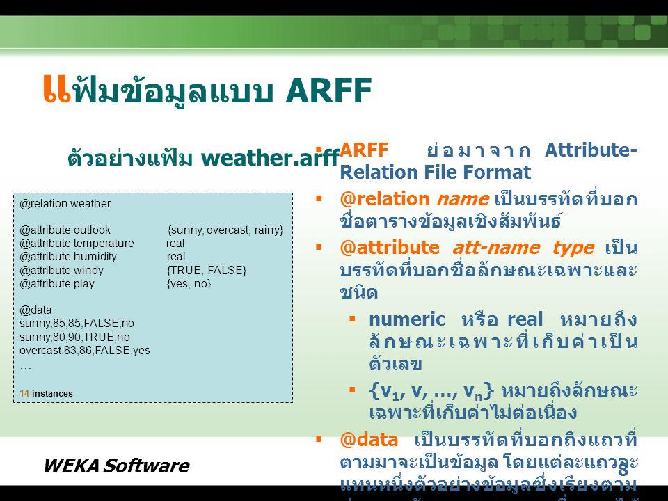 แฟ้มข้อมูลแบบ ARFF ตัวอย่างแฟ้ม weather.arff
