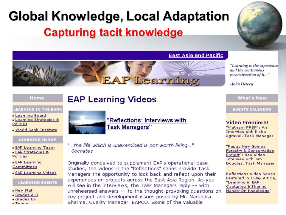Global Knowledge, Local Adaptation Capturing tacit knowledge