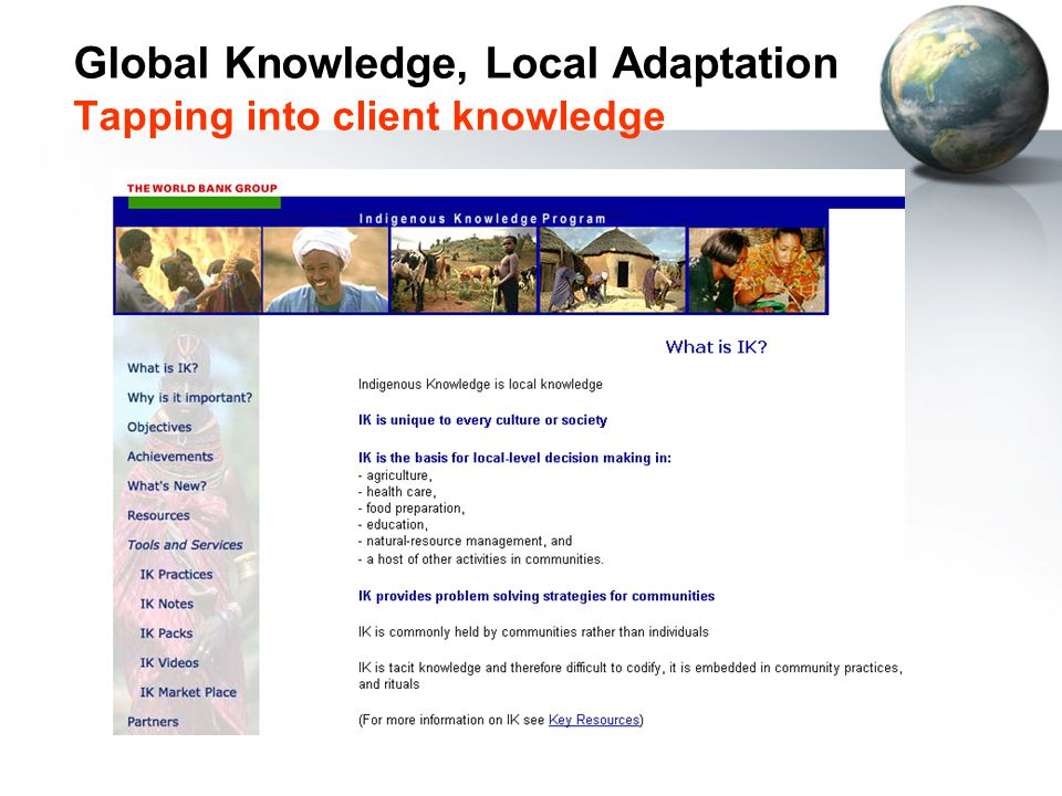 Global Knowledge, Local Adaptation Tapping into client knowledge