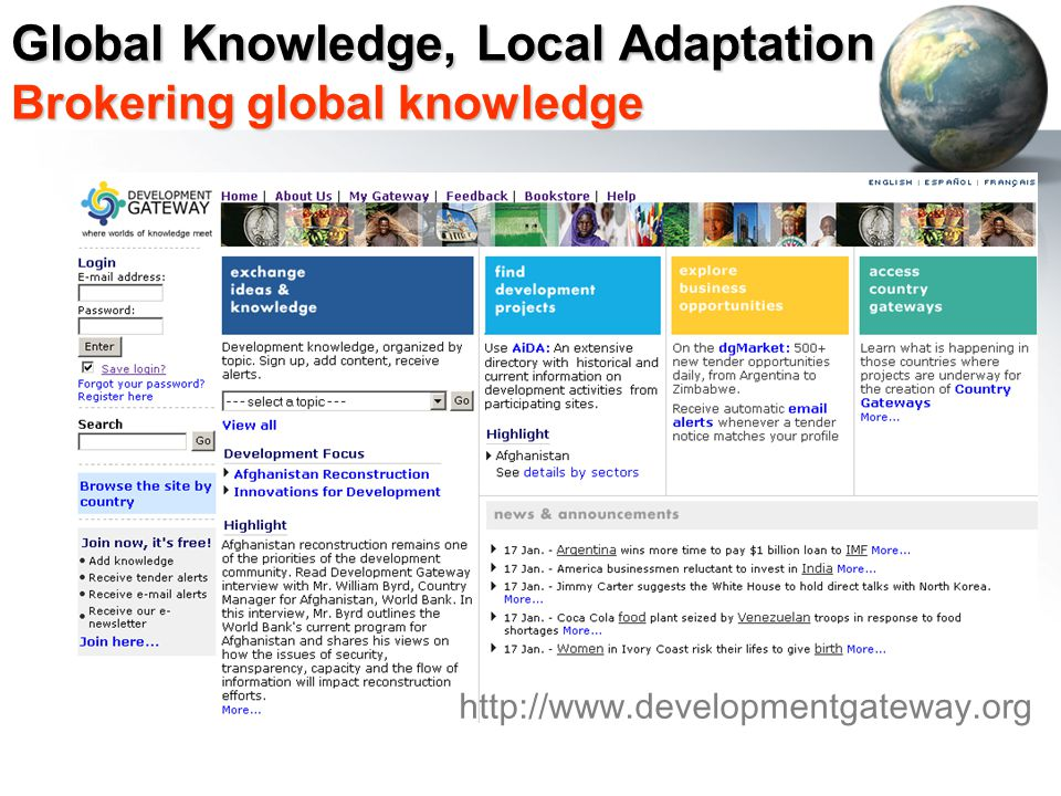 Global Knowledge, Local Adaptation Brokering global knowledge