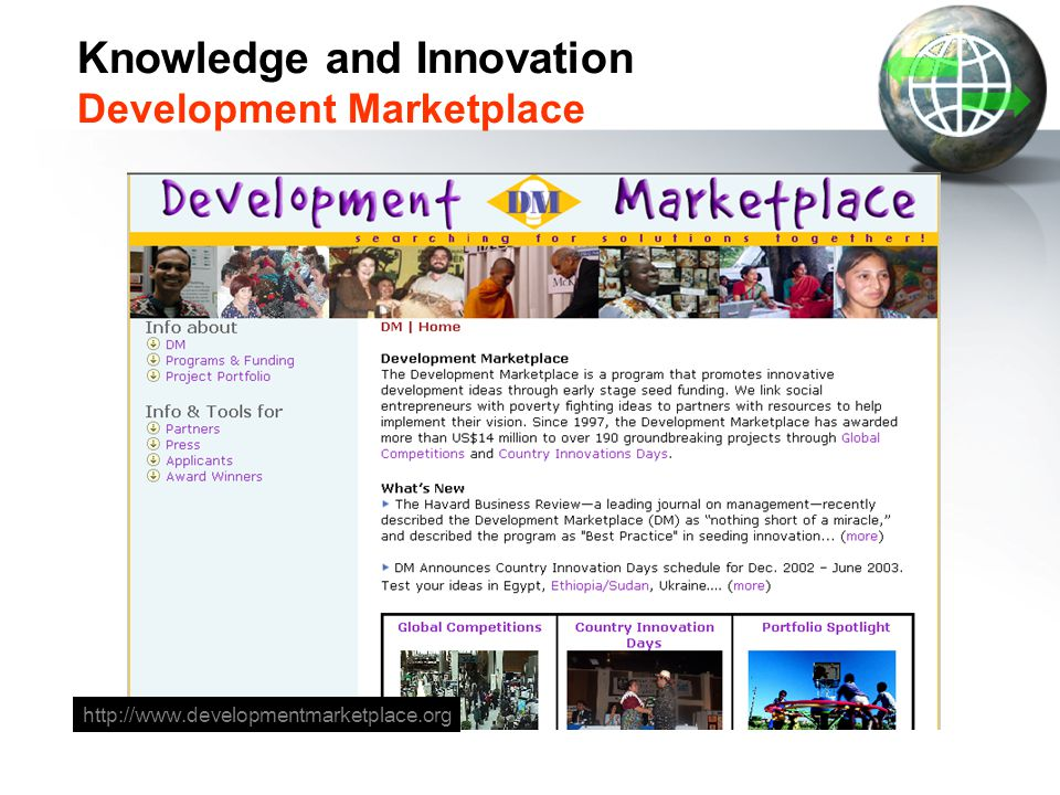 Knowledge and Innovation Development Marketplace