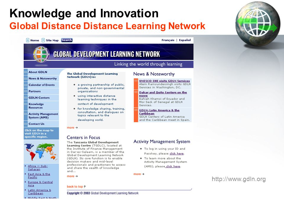 Knowledge and Innovation Global Distance Distance Learning Network
